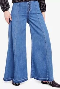 NWT! Free People Sz26, wide leg button fly jeans
